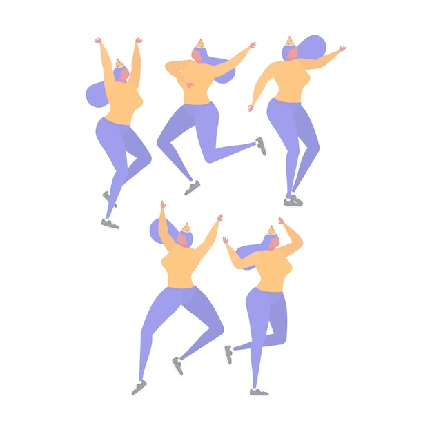 Raccolta di donna ballare e divertirsi a una festa di compleanno Vettore Premium
