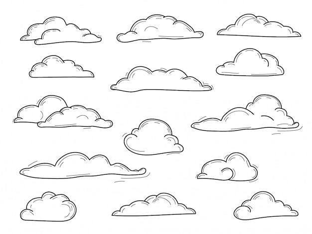 Raccolta di doodle delle nuvole disegnate a mano di vettore, insieme di scarabocchio di vettore Vettore Premium