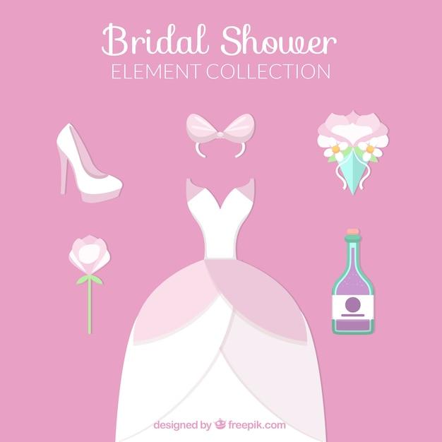 Raccolta di elementi abito da sposa e cerimonia Vettore gratuito