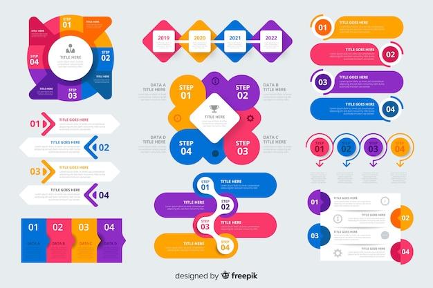 Raccolta di elementi colorati infografica Vettore gratuito