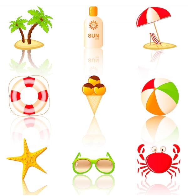 Raccolta di elementi colorati sulla spiaggia. Vettore Premium