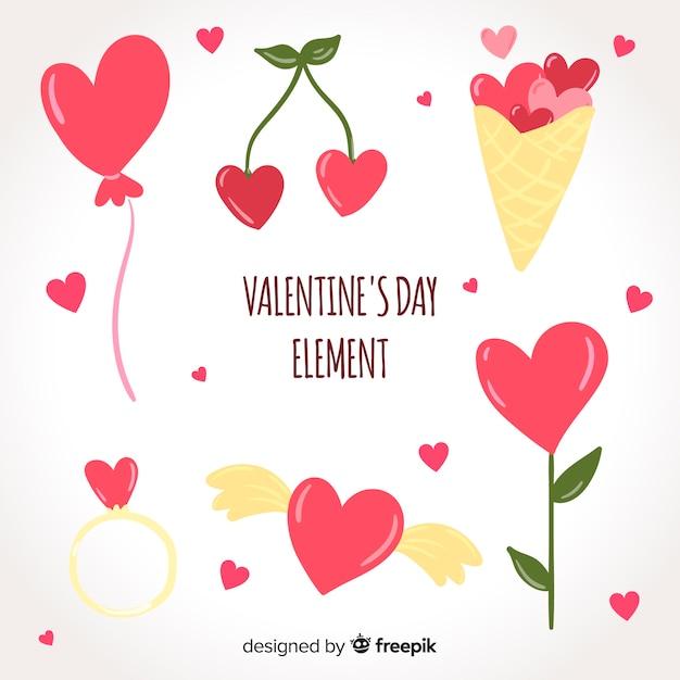 Raccolta di elementi cuori di san valentino Vettore gratuito