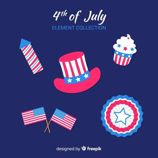 Raccolta di elementi del quarto di luglio Vettore gratuito