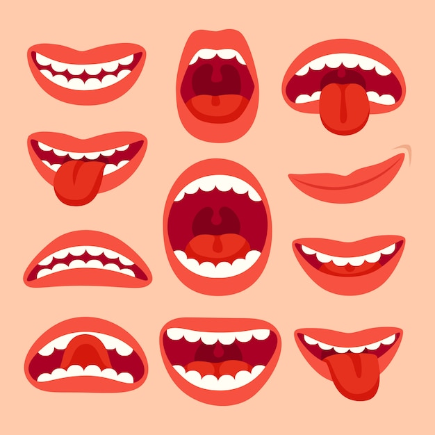 Raccolta di elementi di bocca del fumetto. Vettore Premium