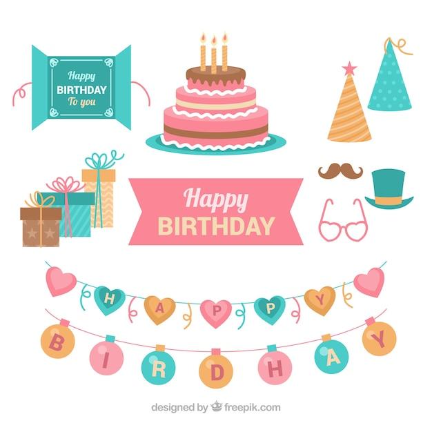 Raccolta di elementi di compleanno in stile piano Vettore gratuito