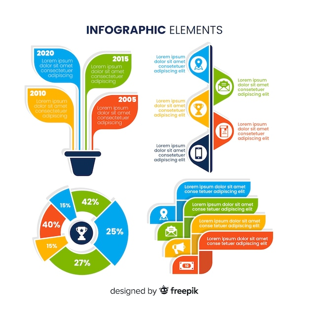 Raccolta di elementi di design infografico Vettore gratuito