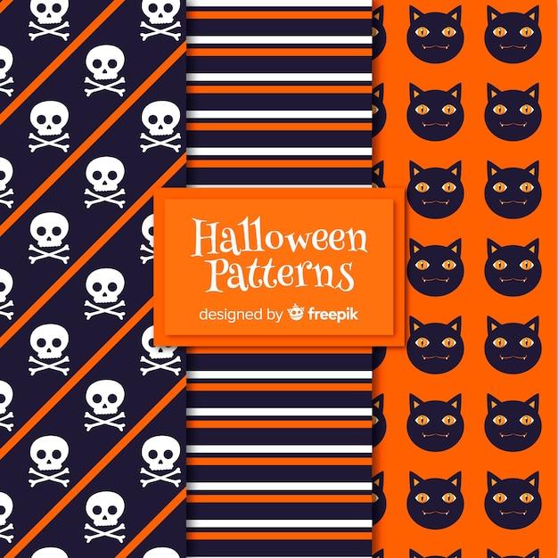 Raccolta di elementi di halloween modello in design piatto Vettore gratuito