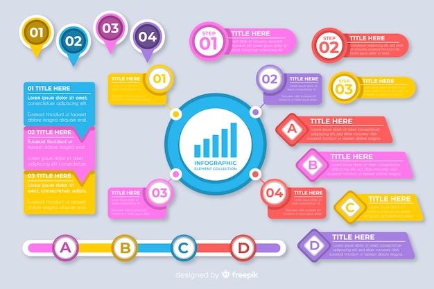 Raccolta di elementi di infografica piatta Vettore gratuito