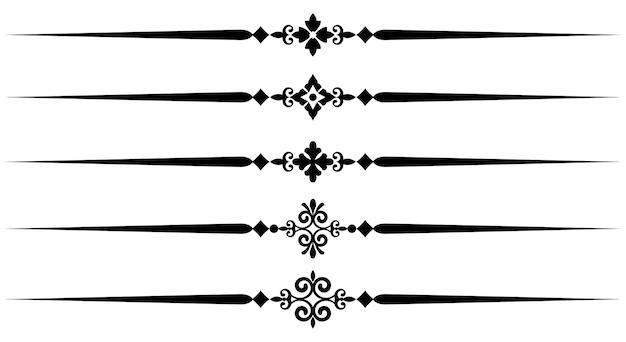 Raccolta di elementi di linea decorativa, insieme di belle regole ornamentali per il design borde Vettore Premium