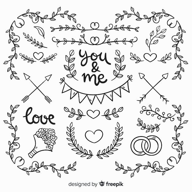 Raccolta di elementi di nozze disegnati a mano Vettore gratuito
