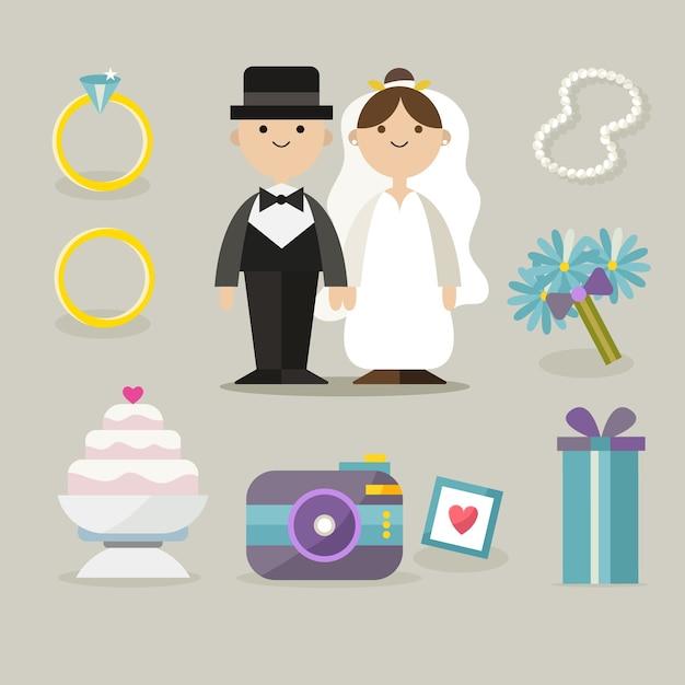 Raccolta di elementi di nozze Vettore gratuito