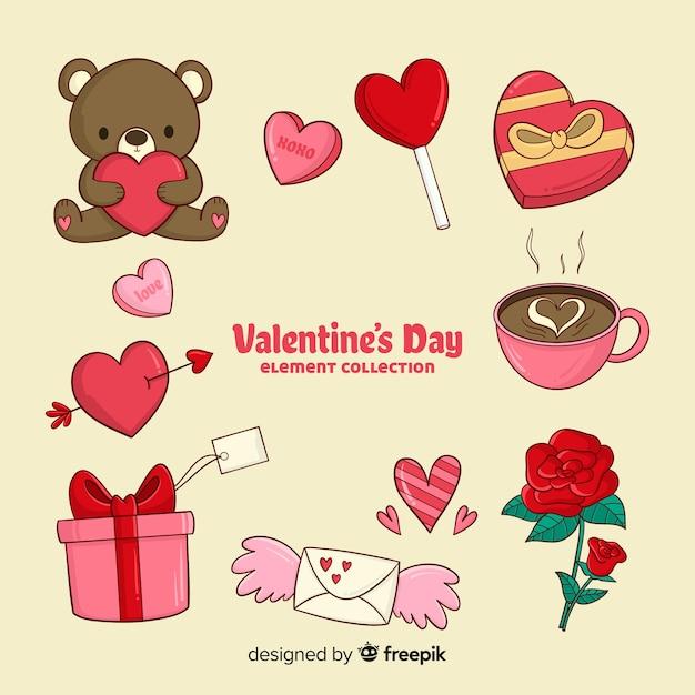 Raccolta di elementi di san valentino dei cartoni animati Vettore gratuito