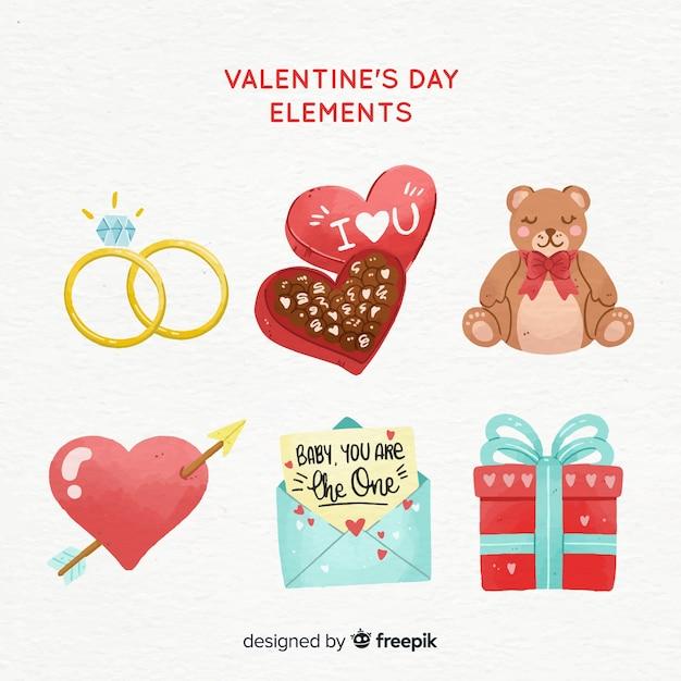 Raccolta di elementi di san valentino disegnati a mano Vettore gratuito