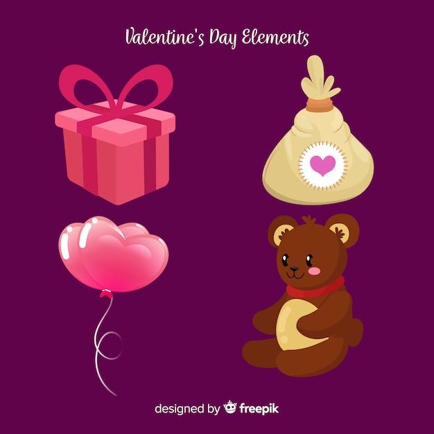 Raccolta di elementi di san valentino Vettore gratuito