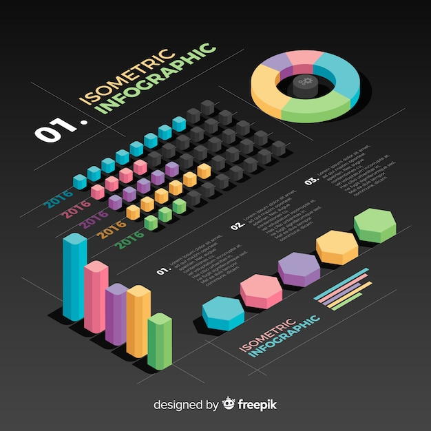 Raccolta di elementi infografica isometrica Vettore gratuito
