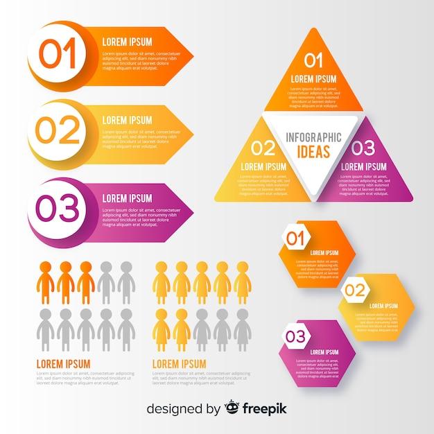 Raccolta di elementi infografici Vettore gratuito