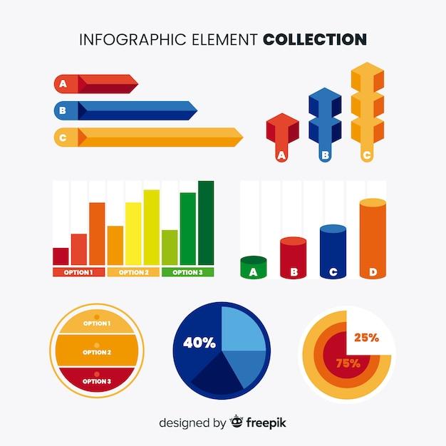 Raccolta di elementi infographic colorato con design piatto Vettore gratuito