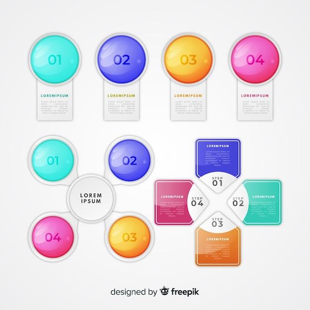 Raccolta di elementi infographic di plastica lucida realistica Vettore gratuito