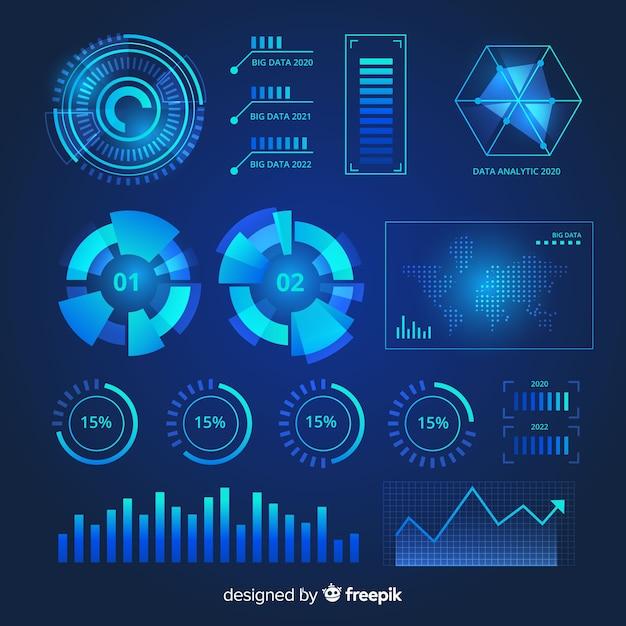 Raccolta di elementi infographic futuristici Vettore gratuito