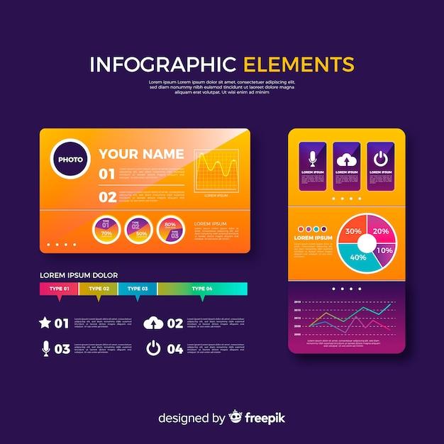 Raccolta di elementi infographic gradiente Vettore gratuito