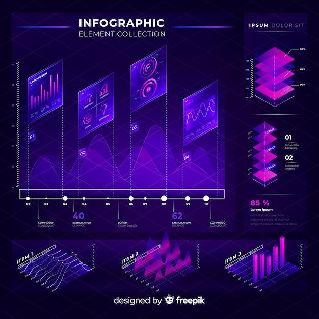 Raccolta di elementi infographic moderna Vettore gratuito