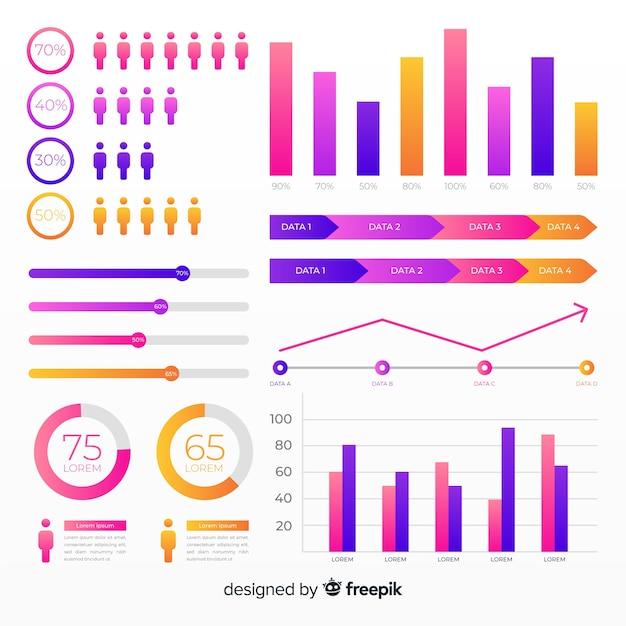 Raccolta di elementi infographic piatto gradiente Vettore gratuito