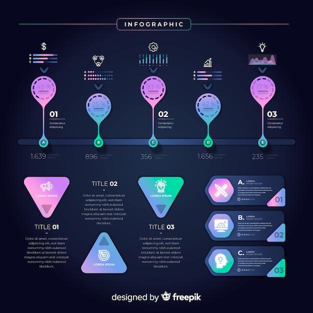Raccolta di elementi infographic sfumati Vettore gratuito