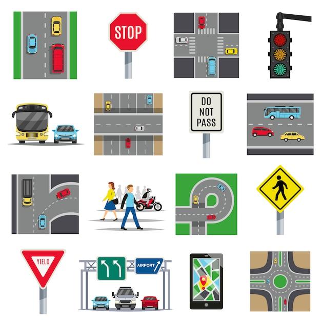 Raccolta di elementi piani di segnali stradali Vettore gratuito