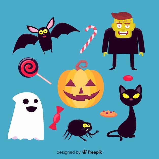 Raccolta di elementi piatti di halloween Vettore gratuito