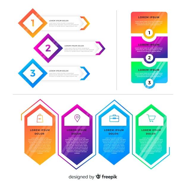 Raccolta di elementi piatto gradiente infografica Vettore gratuito