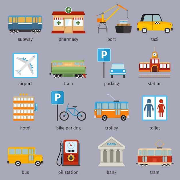 Raccolta di elementi urbani Vettore gratuito