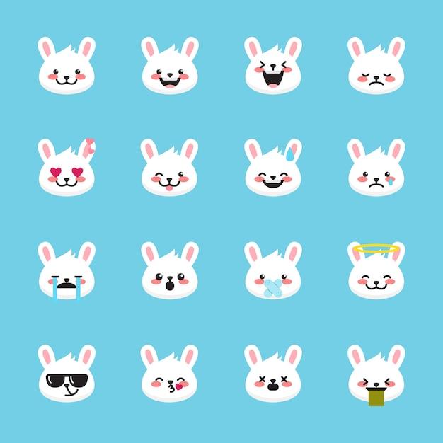 Raccolta di emoticon di conigli Vettore Premium