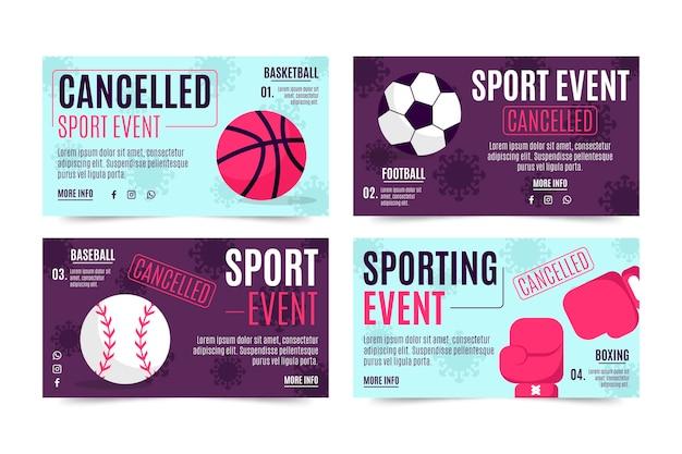 Raccolta di eventi sportivi cancellati - banner Vettore gratuito