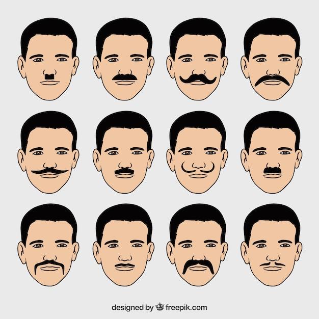 Raccolta di facce con diversi tipi di baffi scaricare - Diversi tipi di barba ...