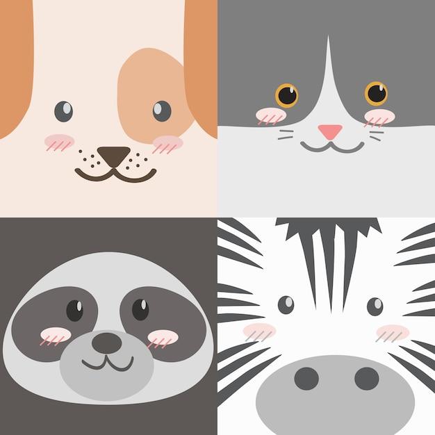 Raccolta di facce di animali simpatico cartone animato Vettore Premium