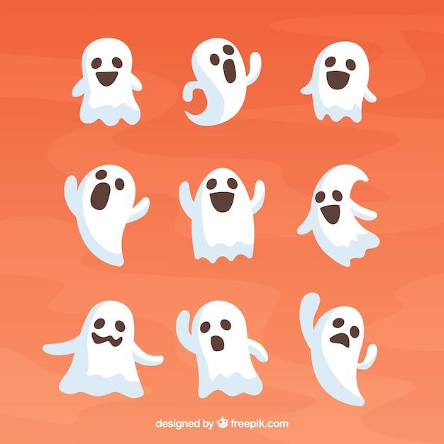Raccolta di fantasmi Vettore gratuito