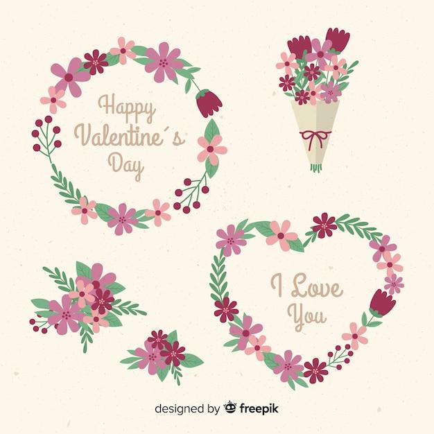 Raccolta di fiori e ghirlanda di San Valentino Vettore gratuito