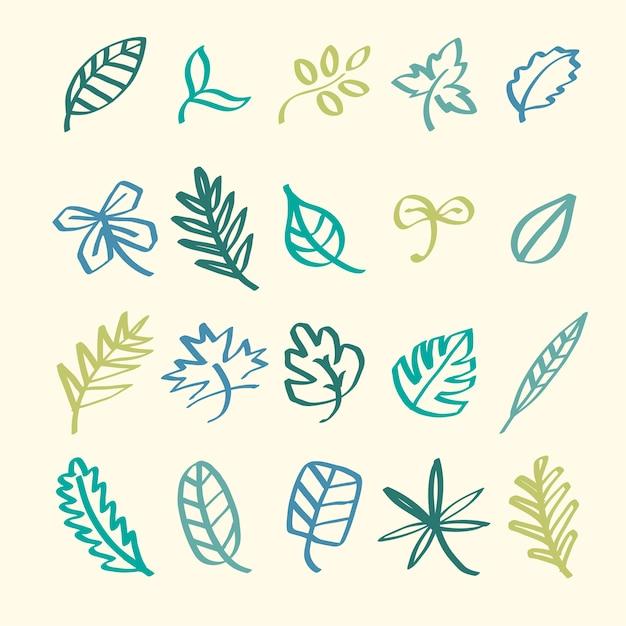 Raccolta di foglia doodles illustrazione Vettore gratuito
