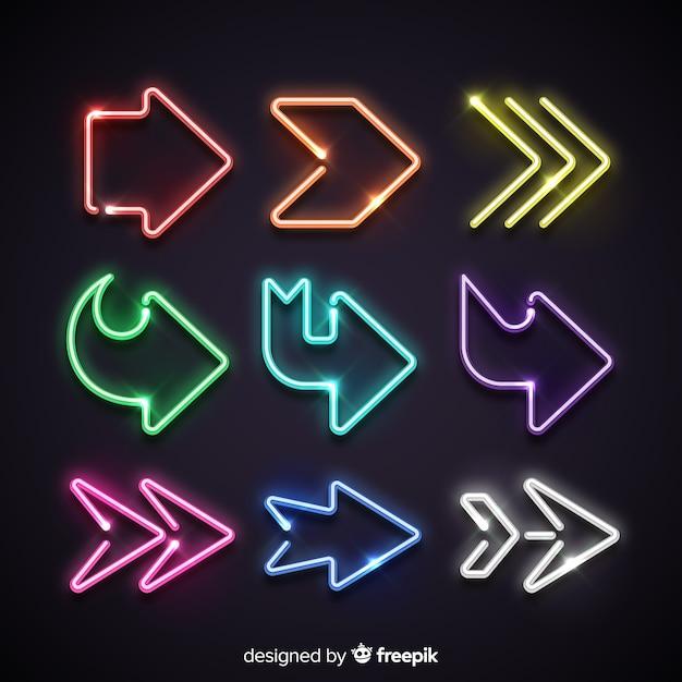 Raccolta di frecce al neon colorato Vettore gratuito