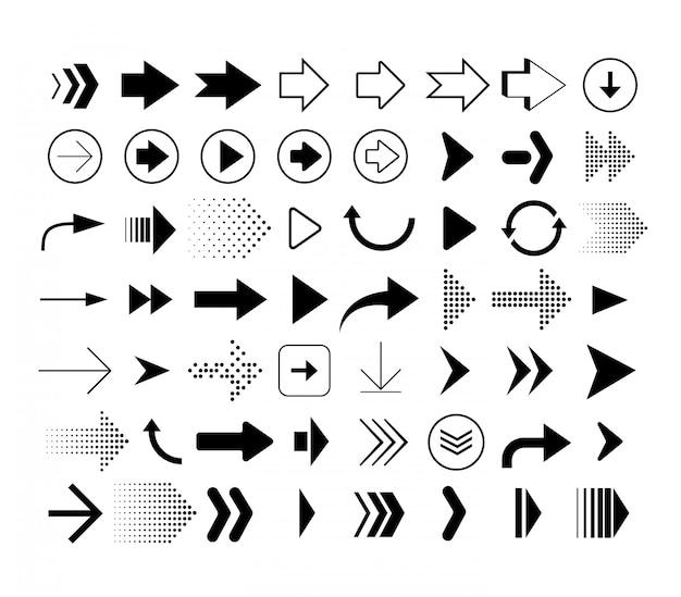 Raccolta di frecce di forma diversa. set di icone frecce Vettore Premium