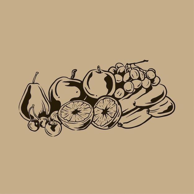 Raccolta di frutta disegnata a mano vintage Vettore Premium