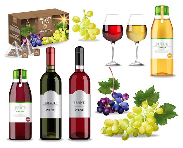 Raccolta di frutta e vino autunnale Vettore Premium