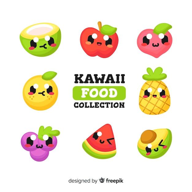 Raccolta di frutta kawaii Vettore gratuito