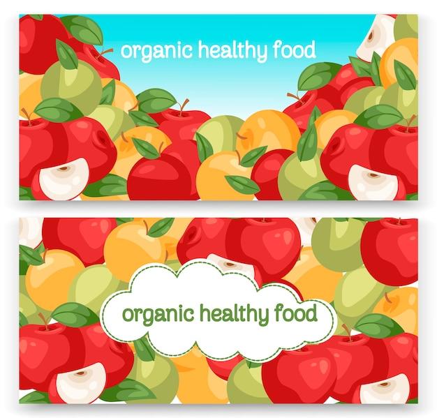Raccolta di frutta mela imposta banner. colorfulchard luminoso Vettore Premium