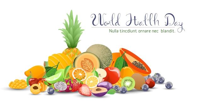 Raccolta di frutta per la giornata mondiale della salute. Vettore Premium