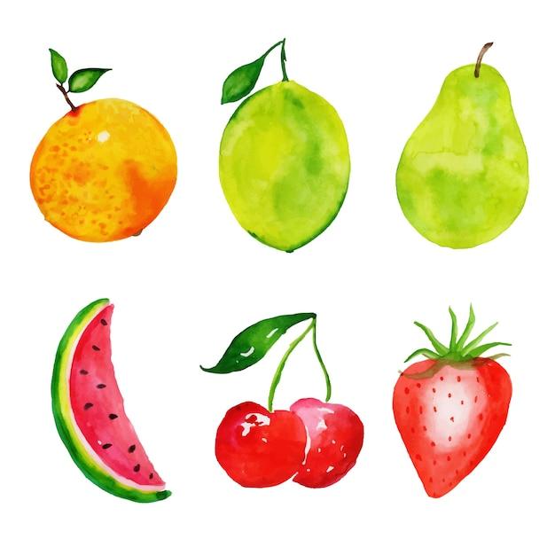 Raccolta di frutti ad acquerello Vettore gratuito