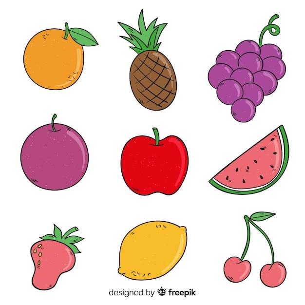 Raccolta di frutti disegnati a mano Vettore gratuito