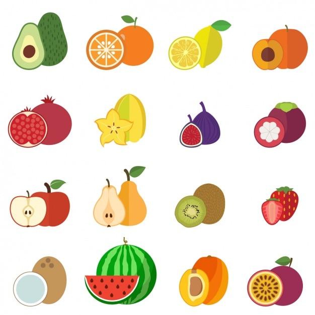 Raccolta di frutti icone Vettore gratuito
