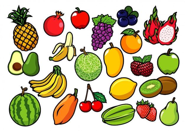 Raccolta di frutti Vettore Premium