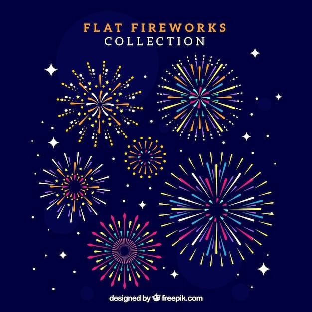 Raccolta di fuochi d'artificio Vettore gratuito